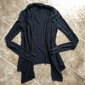 Theory Black Ho Low Open Front Cardigan